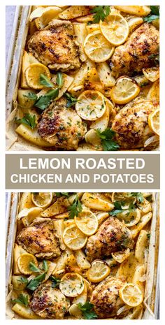 One pan roasted lemon chicken and potatoes! Such an easy and cozy weeknight meal. One pan roasted chicken and potatoes tossed in the most flavorful lemon spice combo and roasted in the oven until juicy tender. It's such an easy weeknight meal! Lemon Roasted Chicken, Lemon Rosemary Chicken, Roasted Chicken And Potatoes, Lemon Potatoes, Chicken Potato Bake, Recipes With Chicken And Potatoes, Recipes With Diced Tomatoes, Baked Chicken And Veggies, Lemon Chicken Thighs