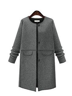 Женский На каждый день   Большие размеры Однотонный Пальто Круглый  вырез,Уличный стиль Осень   202404b9b1c