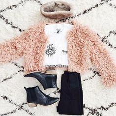 Best Outfit Ideas For Fall And Winter  25 Inspiring Fall Flat Lays From Instagram  Best Outfit Ideas For Fall And Winter 2016/2017 Description fall flat lay from Instagram - shaggy pastel pink cropped cardigan black boots eye graphic tee on diamond fur rug