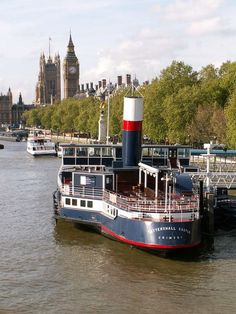 Have a beer on Tattershall Castle, one of the Thames' permanently moored boats. Ship Tracker, Houses Of Parliament, River Thames, Prints For Sale, Willis Tower, Yorkshire, Castle, England, Boat