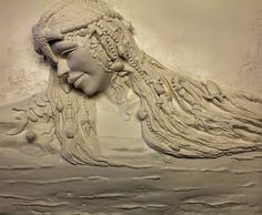 The Mermaid, by Ellie Ellis, Plaster High Relief, Wall sculpture,Sculpted Wall Panel,Sculpturesque Painting, Sculpted Walls, High Relief, Bas Relief