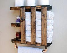 Rustic Bathroom Shelf, Bathroom Organization, Towel Hook Rack