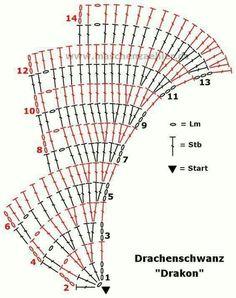 583d13f2a0a1bb627447432ef36c7477.jpg (564×713) Echarpe queue de dragon au crochet.