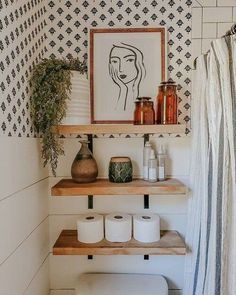 Boho Bathroom, Master Bathroom, Bathroom Inspo, Washroom, Bathroom Shelf Decor, Eclectic Bathroom, White Bathroom, Bathroom Built Ins, Ikea Hack Bathroom