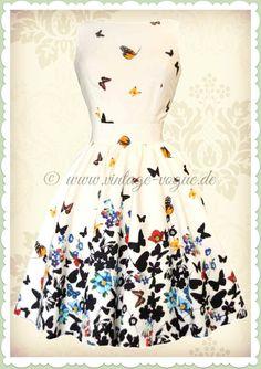 Lady Vintage 40er Jahre Vintage Schmetterlinge Kleid - Butterfly - Weiß