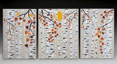 autumn birch tryptic