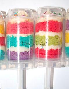Push Pops - Wedding Cakes, Celebration Cakes, Cake Pops, Cup Cakes - A Bite of… Cake Push Pops, Push Up Pops, Cakepops, Yummy Treats, Sweet Treats, Chocolates, Rainbow Food, Rainbow Cakes, Light Cakes