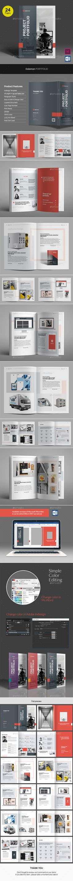 Daleman Project Portfolio Brochure Template InDesign INDD - 24 pages in A4 and Letter Size