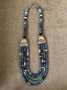 Tommy Singer Necklace Four strand reversible lapis cabachons and mixed stones #TommySinger