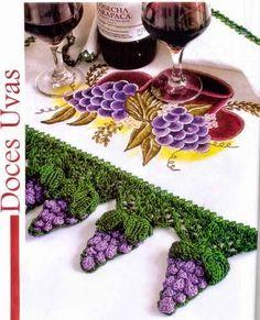 Racimos de uva al crochet en esta guarda tejida con patrón gratis