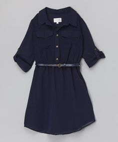 Loving this Navy Belted Dress on #zulily! #zulilyfinds