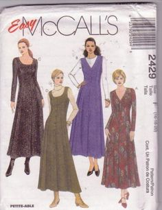 McCall's Misses Dress or Jumper Easy Pattern 2429 Sizes 16 to 20 1999