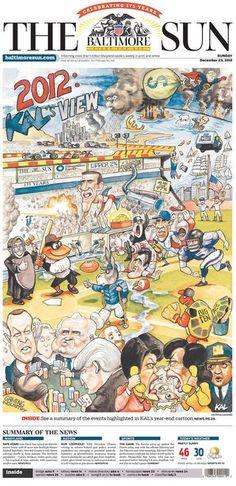 'The Baltimore Sun' celebra su 175 aniversario con una espectacular caricatura a toda página en su portada