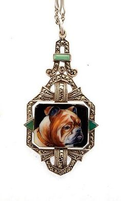 Stunning RARE Art Deco Sterling Silver Jade Hand Painted Bull Dog Portrait Cameo Vintage Antique Necklace Art Deco Jewelry