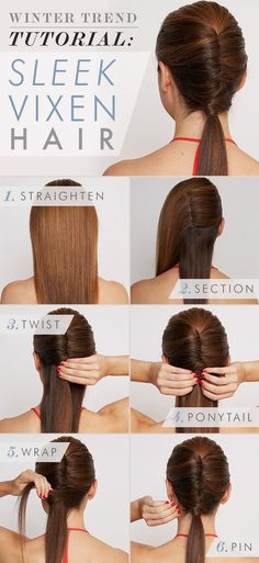 Twisted ponytail night hair. Take a look at this cute do! This twisted ponytail is a very fashion forward way to keep your hair out of your face, and show off a dress with an intricate neckline.