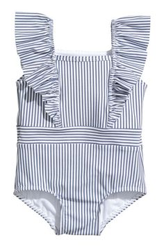 Check this out! Fully lined swimsuit with ruffle-trimmed shoulder straps, ruffles at top, and seam at waist. - Visit hm.com to see more.
