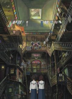 So I heard you like backgrounds. From up on Poppy Hill. Directed by Gorō Miyazaki, scripted by Hayao Miyazaki and Keiko Niwa, and produced by Studio Ghibli. From Up on Poppy Hill (Blu-ray / DVD Combo Pack) Art Studio Ghibli, Studio Ghibli Films, Hayao Miyazaki, Totoro, Up On Poppy Hill, Casa Anime, Isao Takahata, Castle In The Sky, Girls Anime