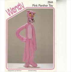 "2544 Wendy Knitting Pattern - Pink Panther toy by Joy Gammon DK 15"" Tall on eBid United Kingdom"