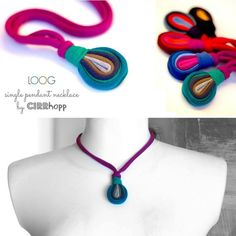 Unique, upcycled fiber single pendant necklace in purple/green/grey/khaki colors. It is antiallergic and babyproof, whats more, give it to your baby, it will be great colorful toy. Length of the pendant approx. 5 cm. Adjustable length. Made of jersey stripes. All t-shirts are laundered