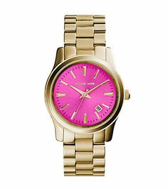 Michael Kors Runway Pink-Dial Gold-Tone Stainless Steel Watch  STORE STYLE #: MK5801