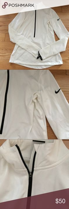 Brand new Nike size medium half zip white Never worn white half zip. Nike. Gorgeous with thumb holes. Authentic from Nike store 😍❤️❤️❤️ Nike Jackets & Coats