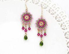 Boho earring, Wife gift, Romantic earrings, Colorful earrings, Bright earring, Chandelier earring, Beaded dangle earrings, Pink gold earring