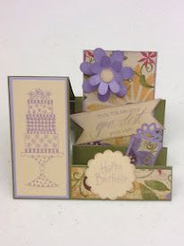 Side step Card = Bella paper & CTMH stamp sets D1407 Piece of cake, D1491 Hooray Bouquet