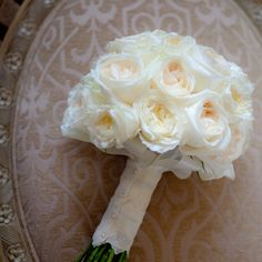 Bridal bouquet in ivory, cream, blush, pale pink and lace