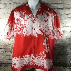 Hilo Hattie Hawaiian Aloha Camp Shirt Mens XL Red White Hibiscus Made in Hawaii  #HiloHattie #Hawaiian