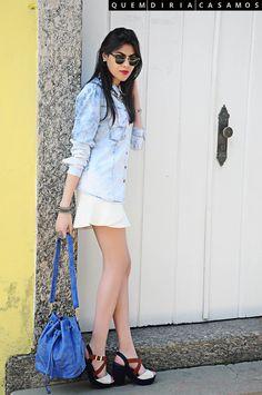 Camisa Jeans + Saia babado