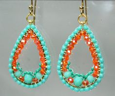 Mexican Summer Tear Drop Gypsie Beaded Earrings by createdbycarla