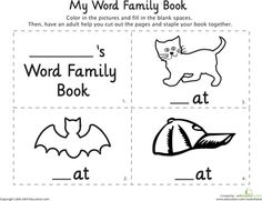 """Worksheets: My Word Family Book: """"-At"""""""