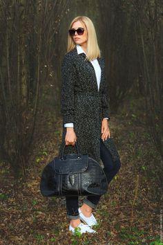 Купить Boucle - чёрно-белый, вязаный кардиган, букле, модные тенденции, осенняя мода, теплый