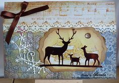 Image detail for -Bumblebees and Butterflies: Memory Box dies on Vintage Christmas card.