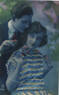 Love among the Flowers French Romance Postcard (and now I am off for the day! It's the grammys tonight, so I won't be back till tomorrow! Vintage Kiss, Vintage Couples, Vintage Love, Vintage Art, Vintage Decor, French Romance, Vintage Romance, Old Photography, Photography Gallery