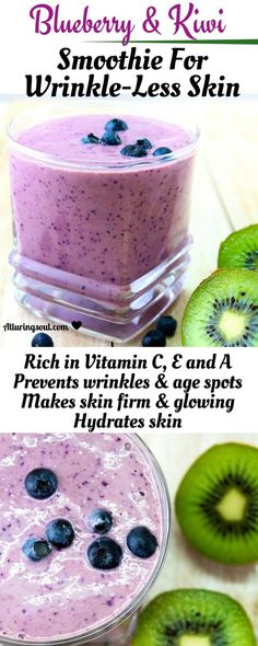 Get glowing skin with vitamin c rich blueberry and kiwi smoothie which helps to stop premature agin&; Get glowing skin with vitamin c rich blueberry and kiwi smoothie which helps to stop premature agin&; Kiwi Smoothie, Fruit Smoothies, Raspberry Smoothie, Healthy Smoothies, Healthy Drinks, Smoothie Recipes, Juice Recipes, Detox Drinks, Healthy Snacks