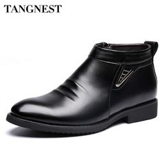 Tangnest Man's Solid Pleated  Sequined Ankle Boots Men Handmade PU Leather Shoes Men 2016 New Winter Dress Formal Flats XMP693