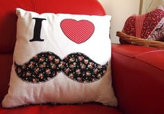 I ♥ Moustache Cushion black & red Great for Teenage bedroom | eBay