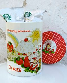 1980's Strawberry Shortcake Large Cookie Tin Canister w/ Polka Dot Lid. $15.00, via Etsy.