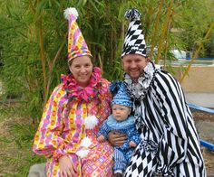 Faschingskostüme für Babys und Eltern - Clowns