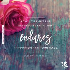 Love never gives up, never loses faith, and endures through every circumstance!