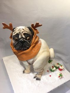 """CPC Christmas collaboration """" The Christmas pug popping muffins """" - cake by Nightwitch Pug Birthday Cake, Pug Cake, Realistic Cakes, Cake Wallpaper, Funny Cake, Sculpted Cakes, Animal Cakes, Halloween Disfraces, Cute Cakes"""