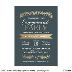 Gold Laurels Slate Engagement Party Invitation