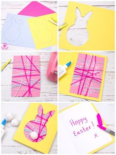▷ 1001 + ideas and instructions on how to make Easter cards! - Easter cards tinker with children, card made from yellow paper, colored yarn, cut out template - Hoppy Easter, Easter Eggs, Yellow Paper, All Things New, Presents For Her, Yarn Colors, Easter Crafts, Easter Ideas, Diy Crafts For Kids