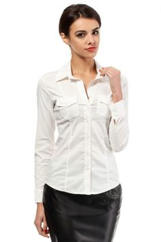 Formal shirt for women with asymmetrical stitching