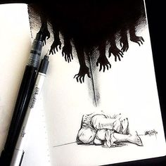 The nightmares hurt they just make you see the truth pencildrawings It hu .The nightmares hurt they just make you see the truth pencildrawings It hurts when you realize you were never really Creepy Drawings, Dark Art Drawings, Creepy Art, Pencil Art Drawings, Art Drawings Sketches, Cool Drawings, Creepy Sketches, Abstract Sketches, Animal Drawings