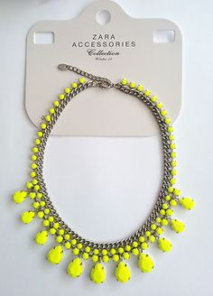 Zara Neon Yellow Statement Necklace Crystal Collar