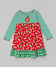Look at this #zulilyfind! Green & Red Christmas Candy Ruffle Dress - Toddler & Girls #zulilyfinds