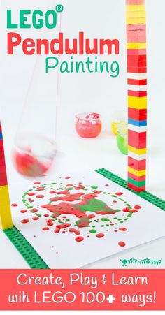 Swing, spin, splatter! We LOVE this LEGO® Pendulum Painting process art activity for kids and know that you will too! It's one of over 100 ways to create, play and learn with LEGO.