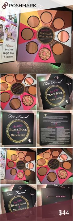 Too Faced Black Book of Bronzers Bronzer Wardrobe Too Faced The Little Black Book of Bronzers BRAND NEW! Never used. Never swatched.  All my makeup is 100% authentic.  Please be sure of your shade before purchasing. I do not swatch new items.  Too Faced Bronzers: Chocolate Soleil Milk Chocolate Soleil  Dark Chocolate Soleil Snow Bunny Pink Leopard Beach Bunny Endless Summer Sun Bunny   TRADES/HOLDS PRICE FIRM Please help me keep my closet friendly & drama free. If you're unhappy with my…